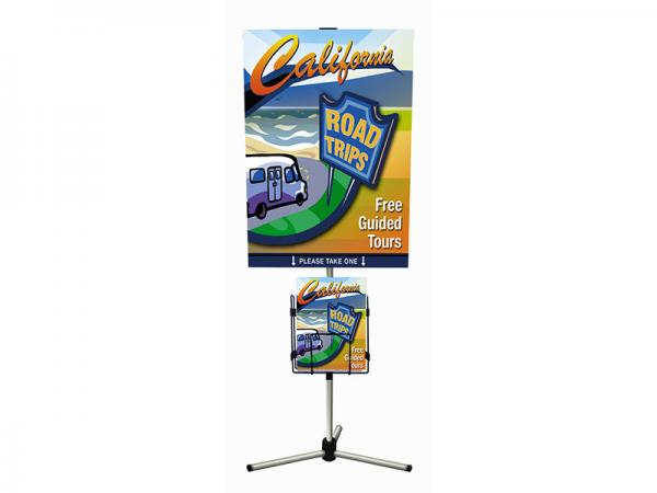 "Summit Telescopic Banner Stand - Silver - 32""w x 40""h graphic - Shown with Literature Holder - Black"