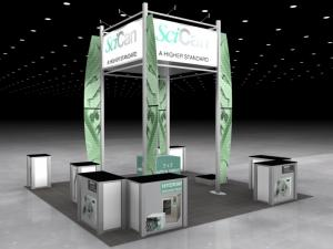 RE-9052 Rental Exhibit / 20� x 20� Island Trade Show Display � Image 1